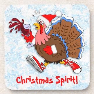 Christmas Tipsy Turkey (Wine) Drink Coasters