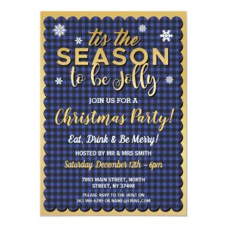 Christmas Tis The Season Blue Gold Check Invite