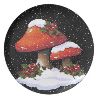 Christmas Toadstools, Holly, Pine Cones, Snow Plate