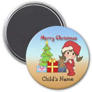 Christmas Toddler Girl Round Magnet