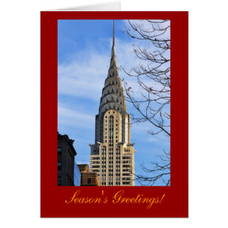 Christmas:Top of the Chrysler Building, Bare Trees Greeting Card