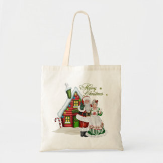 Christmas Tote at North Pole with Santa Claus Budget Tote Bag