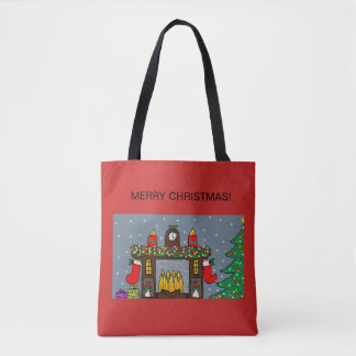 christmas tote bag with festive fireplace design