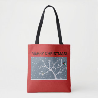 christmas tote bag with frosty design