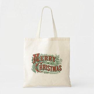 Christmas Tote with Vintage Merry Christmas Budget Tote Bag