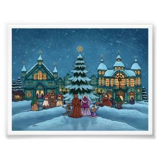 christmas town holiday photo print
