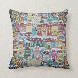 Christmas Town Village Snow Scene Pattern Cushion