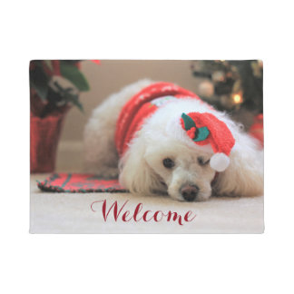 Christmas Toy poodle dog doormat