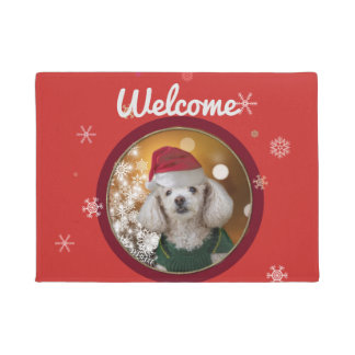 Christmas toy poodle doormat