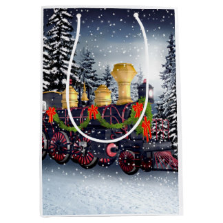 Christmas train medium gift bag