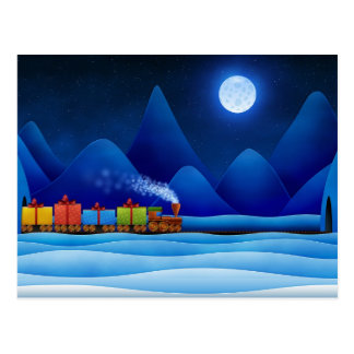 Christmas Train Postcard