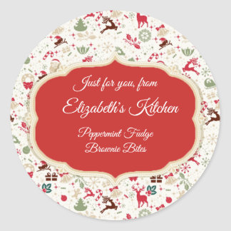 """Christmas Treats, """"From the Kitchen of"""", Custom Classic Round Sticker"""