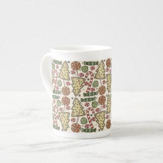 Christmas Treats Holiday Pattern Porcelain Mugs