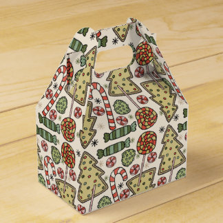 Christmas Treats Holiday Pattern Wedding Favour Boxes