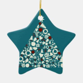 Christmas tree2 ceramic ornament
