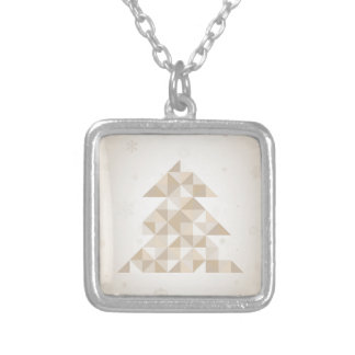 Christmas tree a triangle silver plated necklace