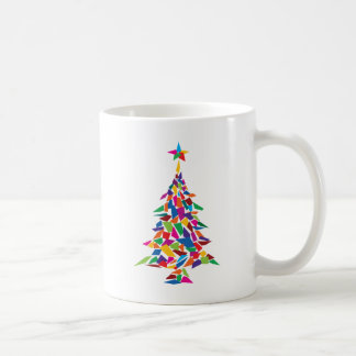 christmas tree abstract basic white mug