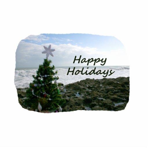 Christmas Tree Against Beach Rocks Happy Holidays Photo Cutout