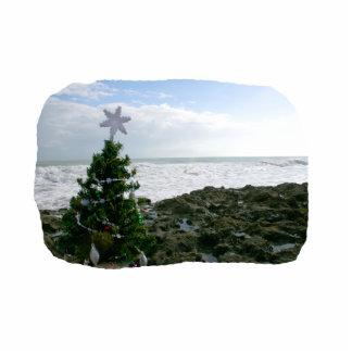 Christmas Tree Against Beach Rocks Acrylic Cut Outs