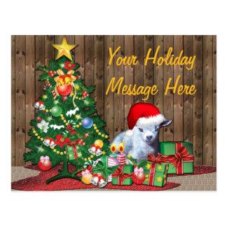 Christmas Tree and Baby Goat Postcard