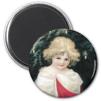 Christmas Tree and Child 6 Cm Round Magnet