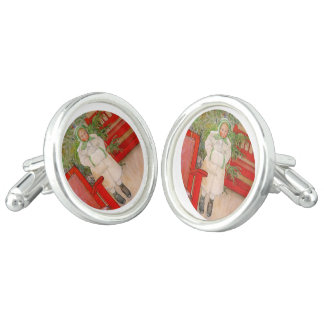 Christmas Tree and Child in Fur Cufflinks