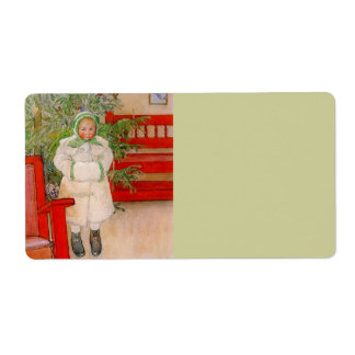 Christmas Tree and Child in Furs Personalized Shipping Labels