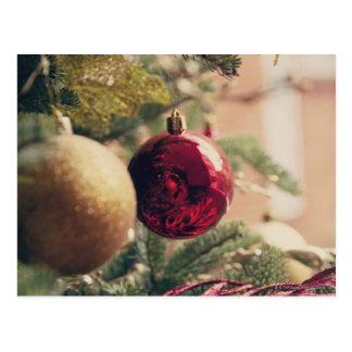 Christmas tree and decoration postcard