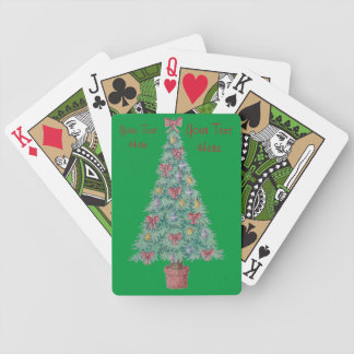 Christmas tree and decorations and red bows bicycle poker cards