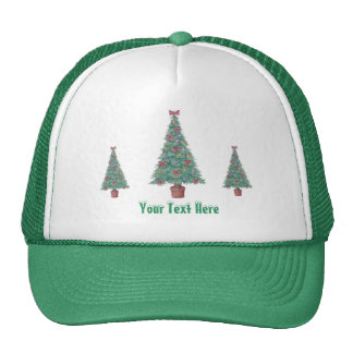 Christmas tree and decorations and red bows cap