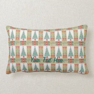 Christmas tree and decorations and red bows cushion