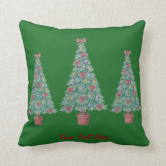 Christmas tree and decorations and red bows throw pillows
