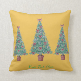 Christmas tree and decorations and red bows pillow