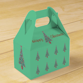 Christmas tree and decorations and red bows wedding favour boxes
