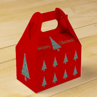 Christmas tree and decorations and red bows party favour box