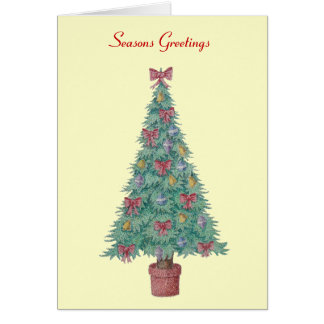 Christmas tree and decorations and red bows greeting card