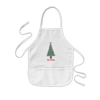 Christmas tree and decorations and red bows kids apron