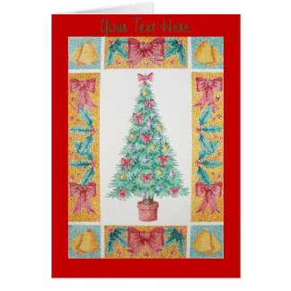 Christmas tree and decorations and red bows note card