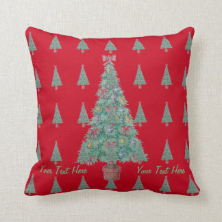 Christmas tree and decorations and red bows throw cushion