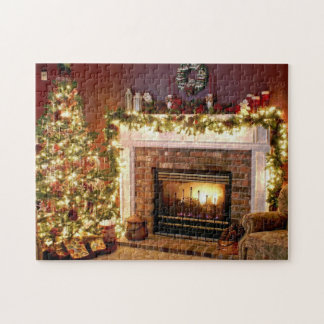 Christmas Tree and Fireplace Photo Puzzle