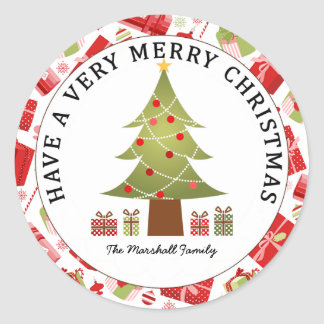 Christmas Tree and Gifts Holiday Classic Round Sticker