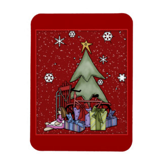 Christmas tree and gifts rectangular photo magnet