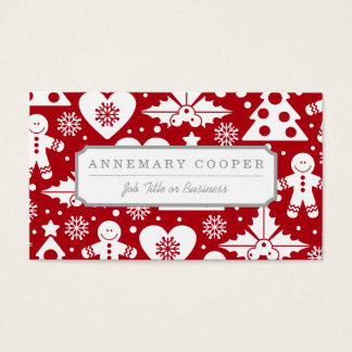 Christmas Tree and Gingerbread Man Pattern on Red Business Card