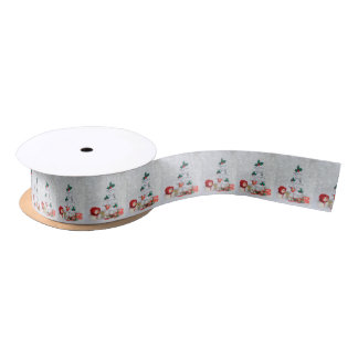 Christmas tree and Happy Snow girl Satin Ribbon