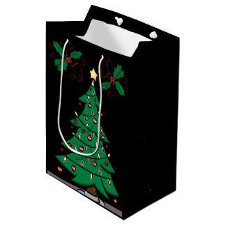 Christmas Tree and Holly Gift Bag