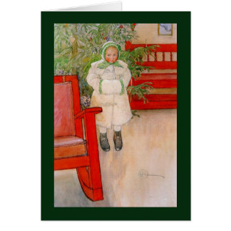 Christmas Tree and Little Snowsuit Girl Card