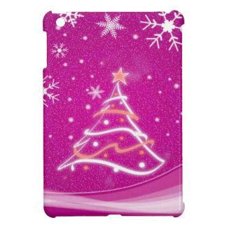 Christmas tree and snowflakes, fuschia case for the iPad mini