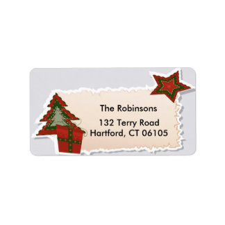 Christmas Tree and Star Address Label