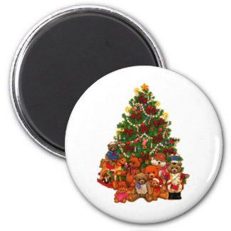 Christmas Tree and Teddy Bears 6 Cm Round Magnet