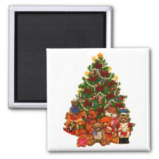 Christmas Tree and Teddy Bears Refrigerator Magnet